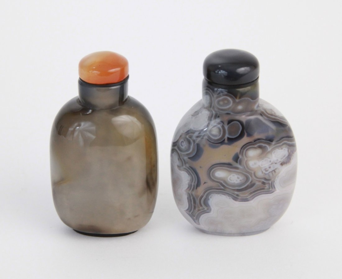 10: Pair of Chinese Agate Snuff Bottles