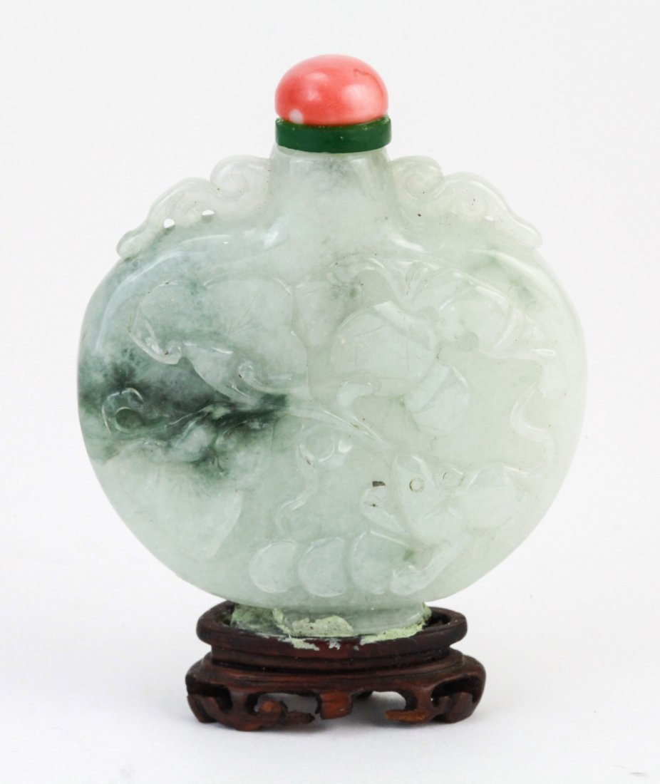 2: Ch. Jadeite Carved Snuff Bottle w/ Coral Stopper