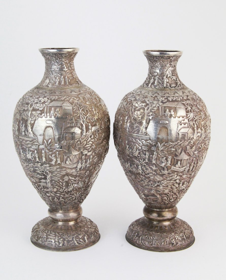 183: Pair of 19th C. Fine Chinese Silver Vases