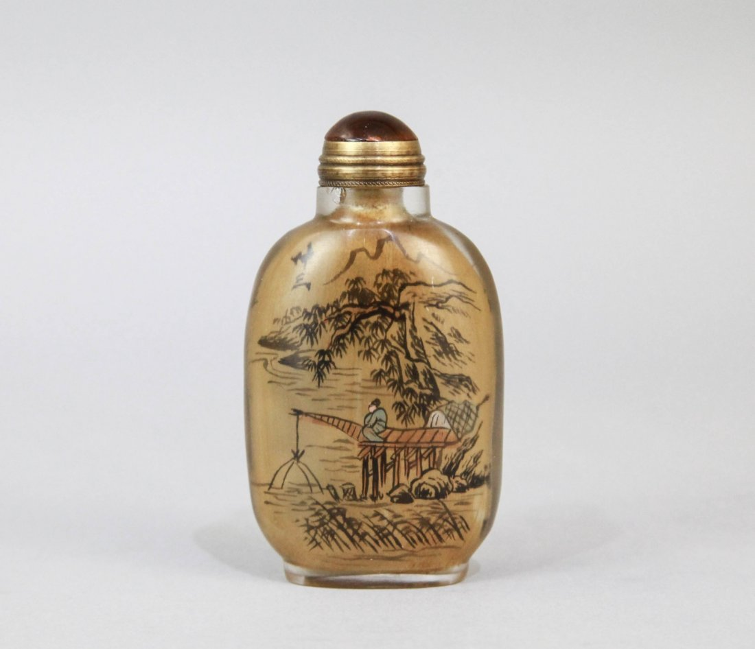 7: Chinese Glass Snuff Bottle Inside Paint Fisherman