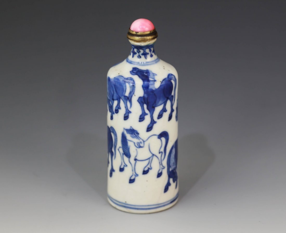 12: A B/W Porcelain Snuff Bottle Depicting Eight Horse