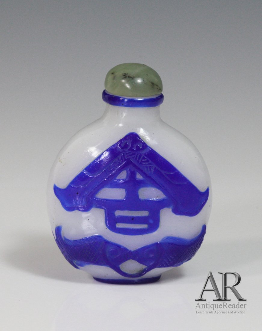 Chinese Blue Overlay Snow Ground Snuff Bottle