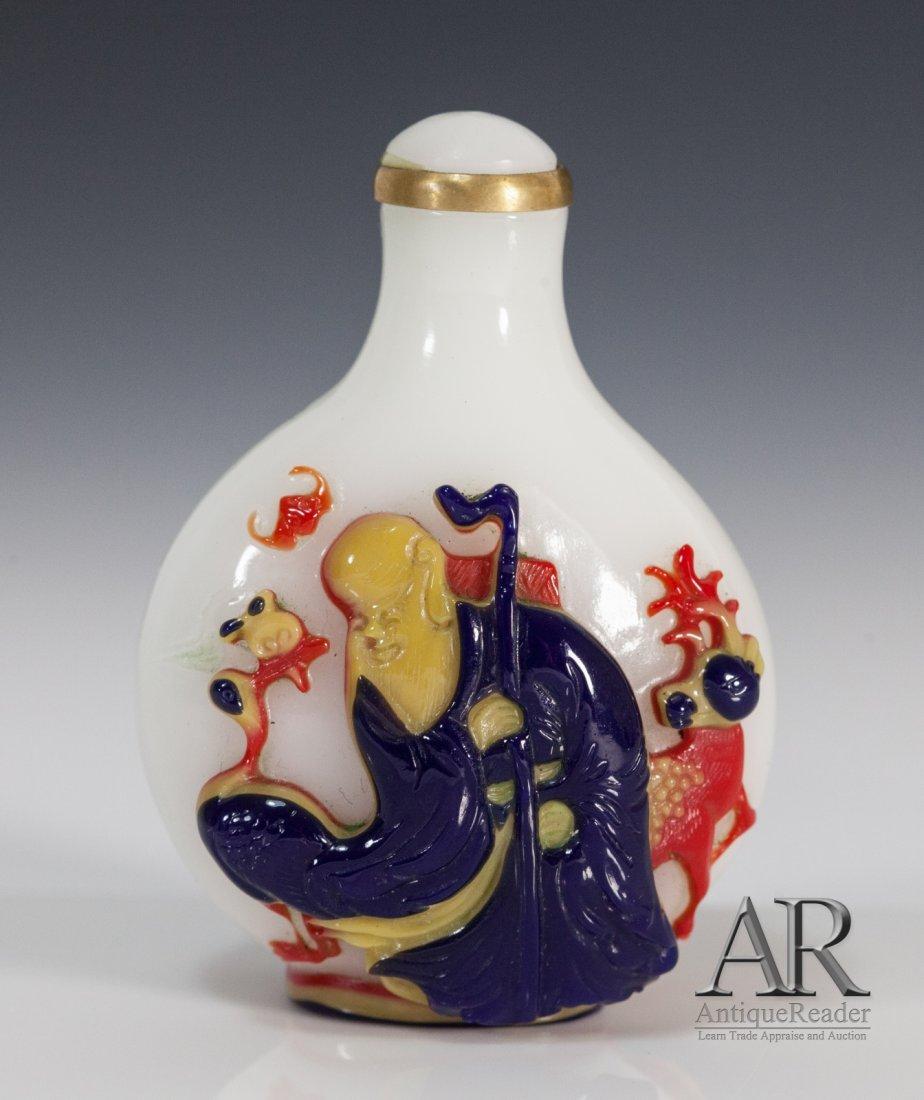 19C Peking Glass Snuff Bottle Overlay Three Colors