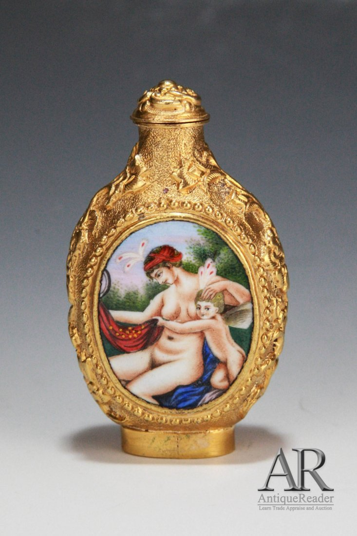 Chinese Snuff Bottle w/ Enamel Painting