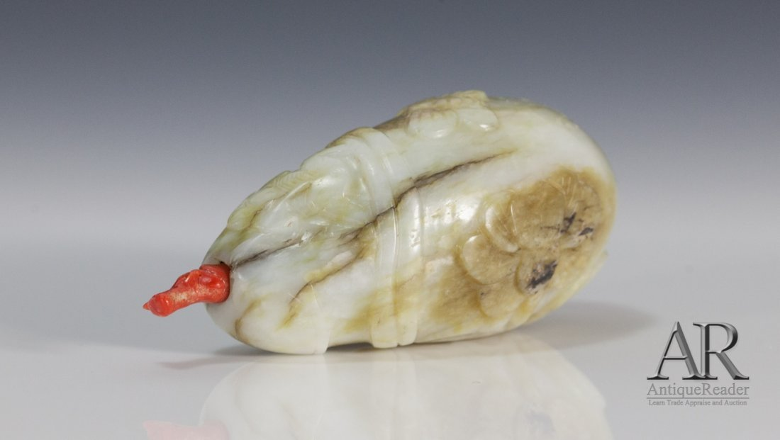 19th C Chinese Jade Snuff Bottle with Russet