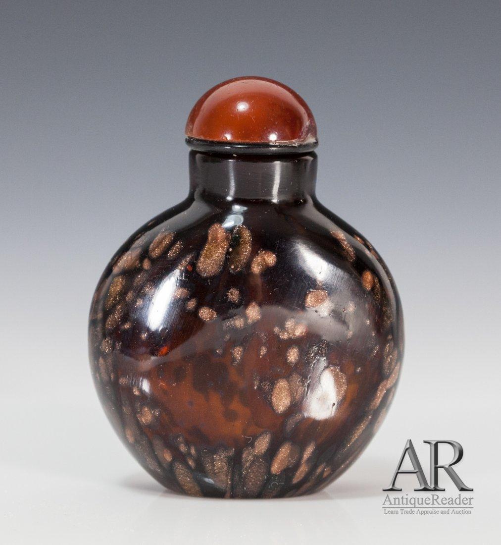 19th C Peking Brown Splash Gold Glass Snuff Bottle
