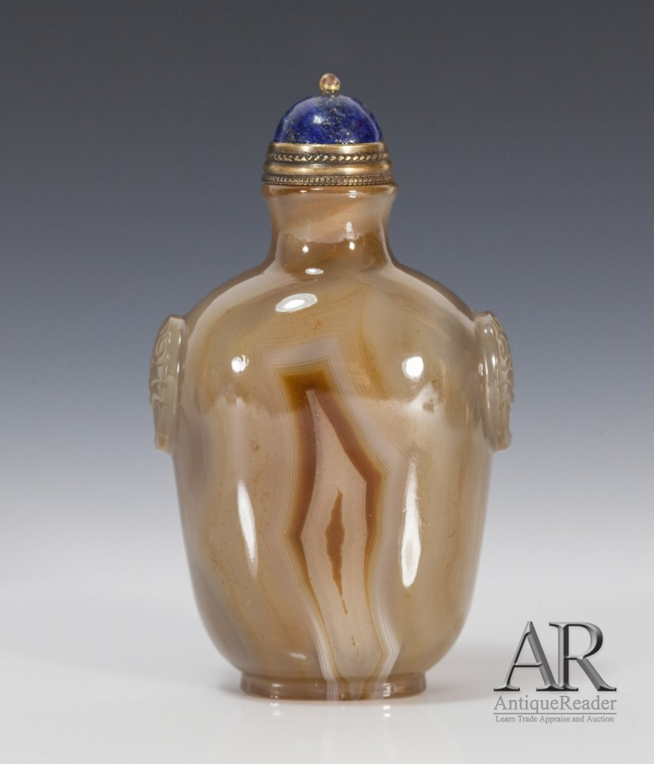 Agate Snuff Bottle with Lion Ears Decoration