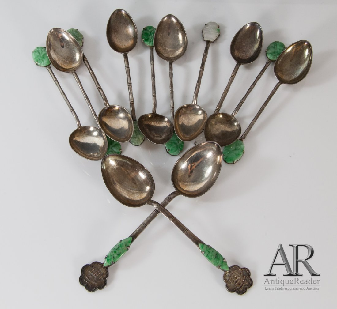 12 Pcs Chinese Jadeite Mounded Silver Spoons