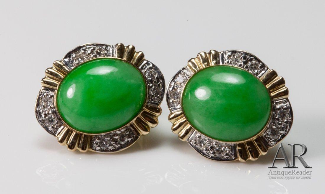 Pair Jadeite w/ Diamond Ear Ring