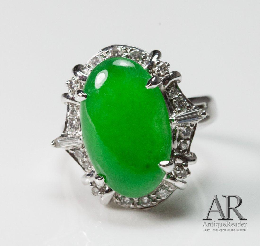 Beautiful Jadeite 14K White Gold Ring w/ Diamonds
