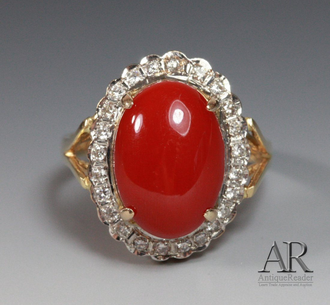 Magnificent Coral on 14K Gold Ring w/ Diamonds