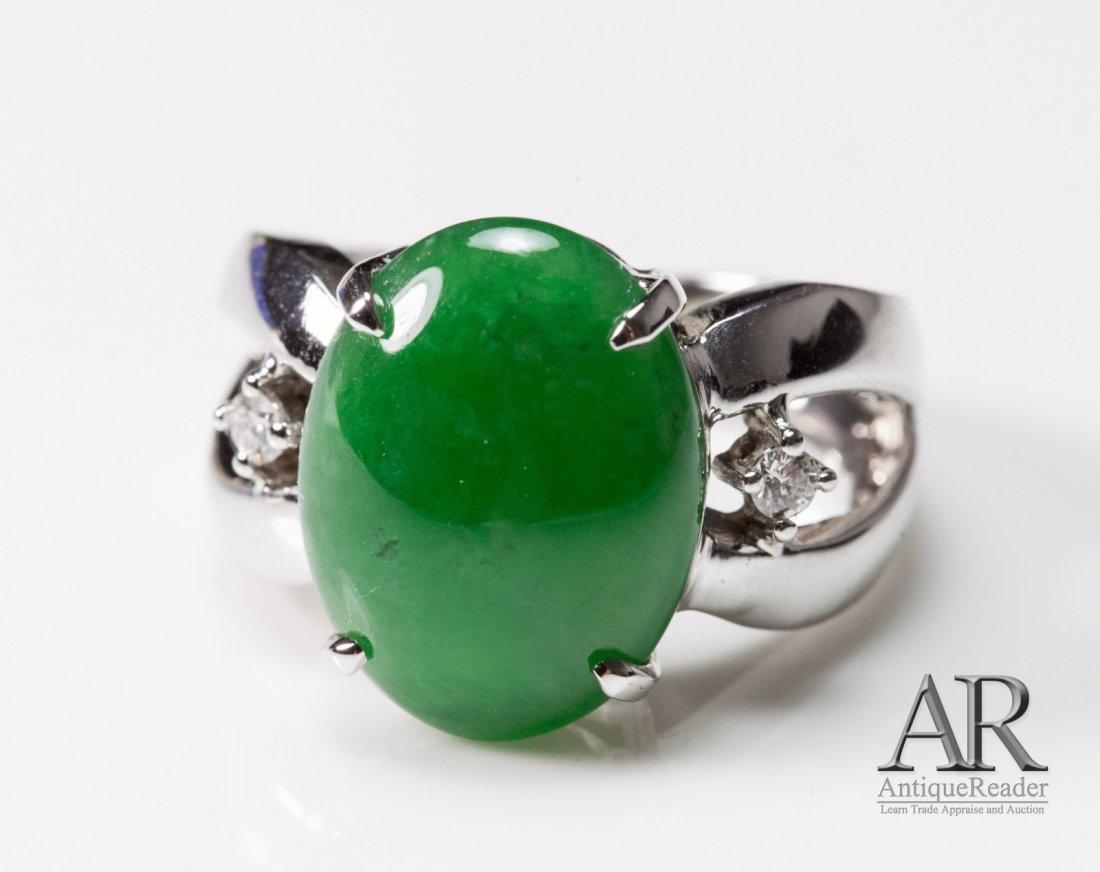 Jadeite 14K White Gold Ring w/Two Diamonds Mount