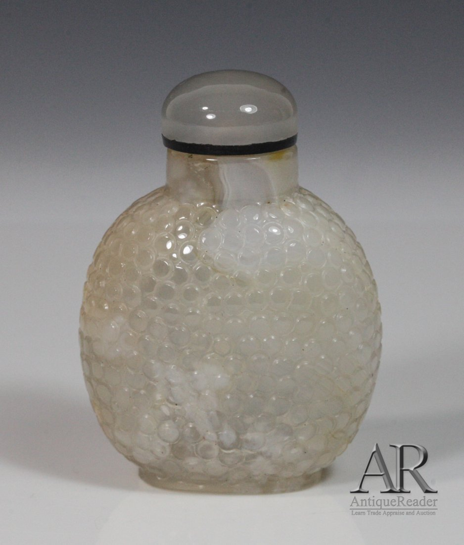 1: 19th C. Chinese Agate Snuff Bottle