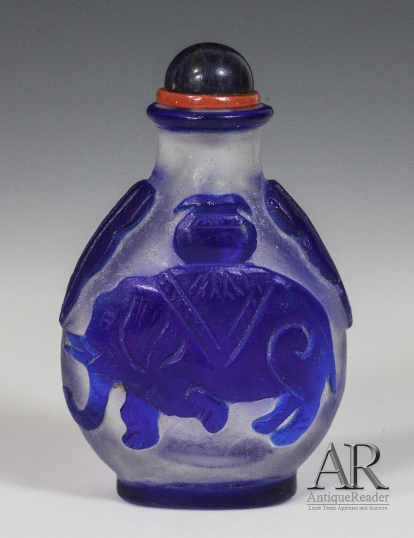 10: Chinese Glass Snuff Bottle Overlay Blue Color
