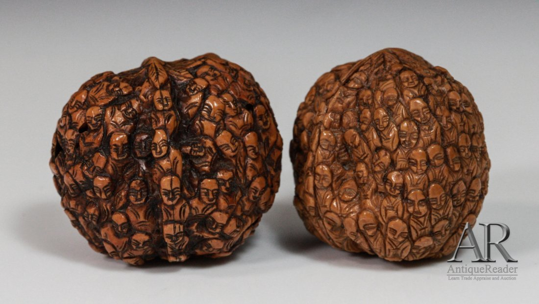 97: 19th C. Two Chinese Walnuts Carved in Relief