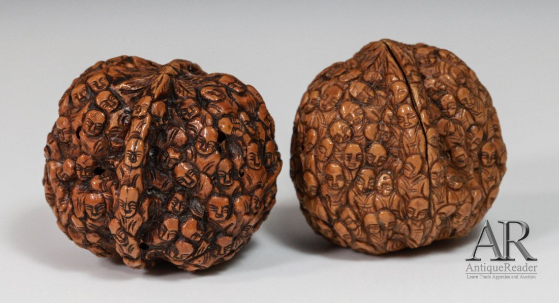 97: 19th C. Two Chinese Walnuts Carved in Relief - 3