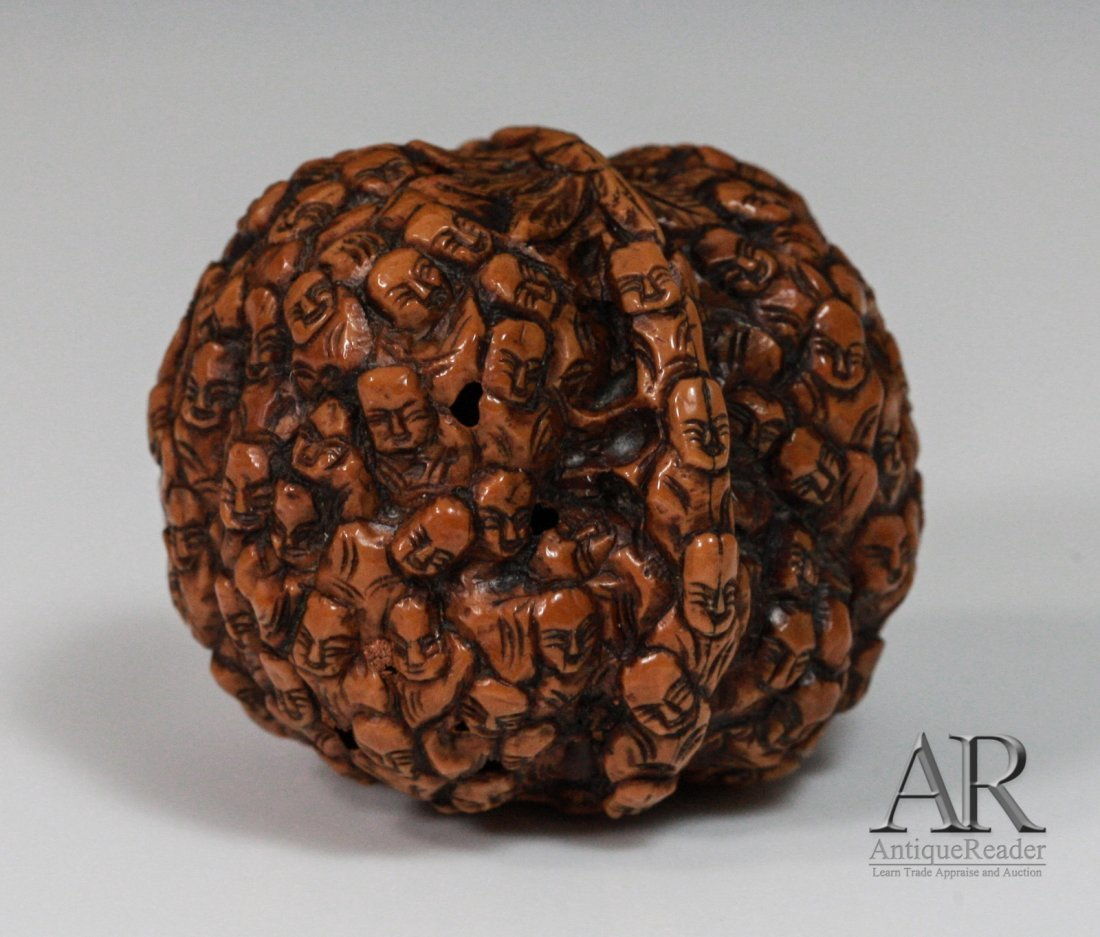 97: 19th C. Two Chinese Walnuts Carved in Relief - 4