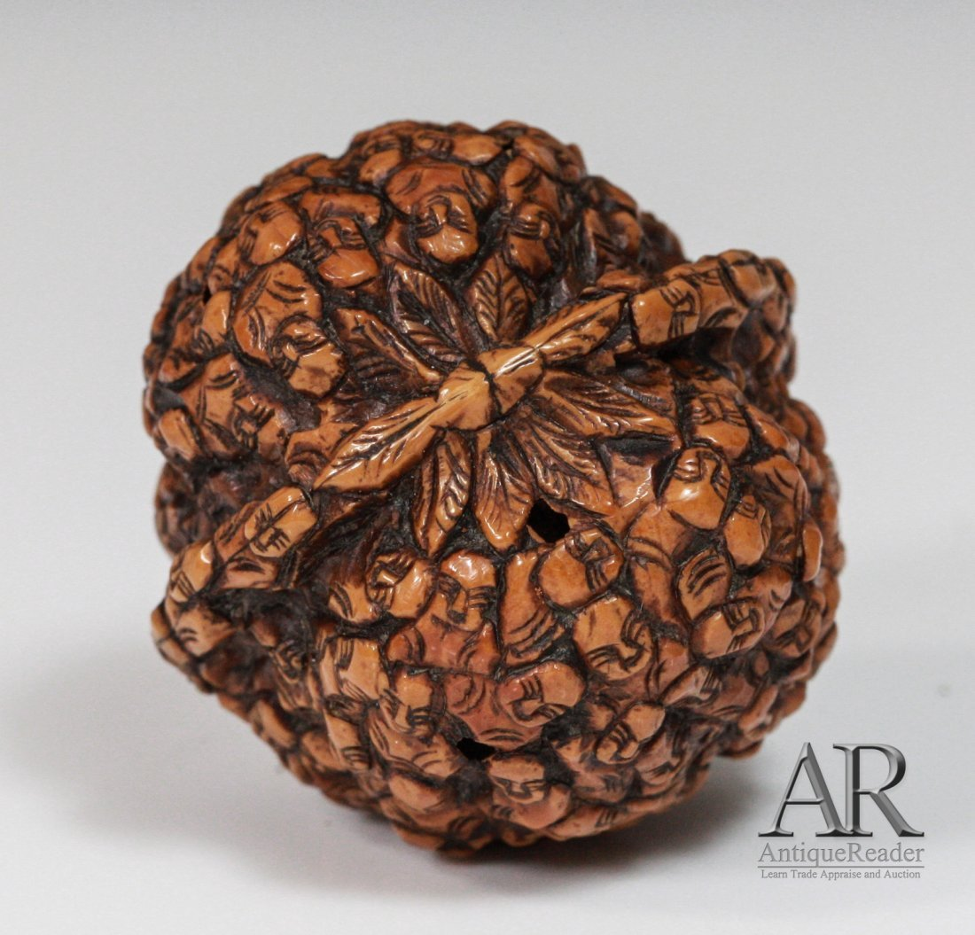 97: 19th C. Two Chinese Walnuts Carved in Relief - 6