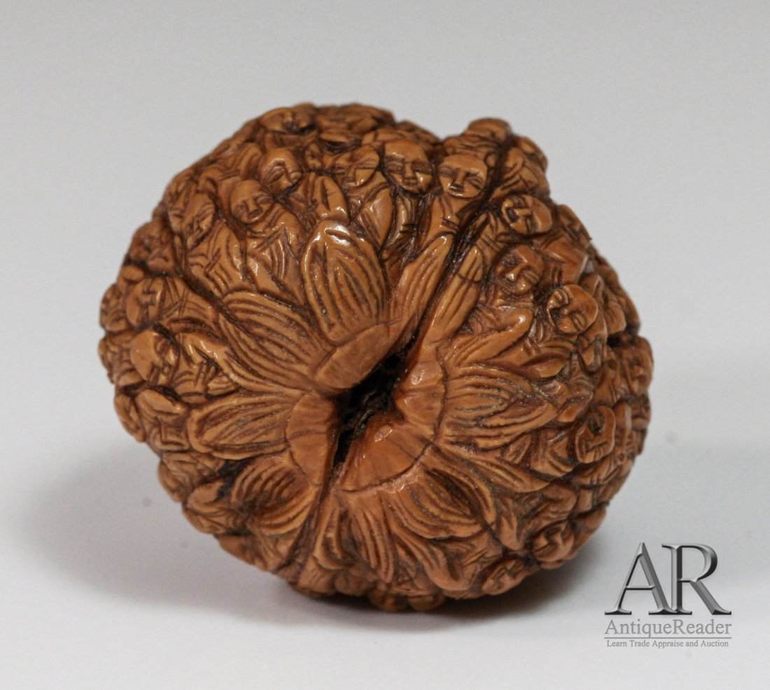 97: 19th C. Two Chinese Walnuts Carved in Relief - 7