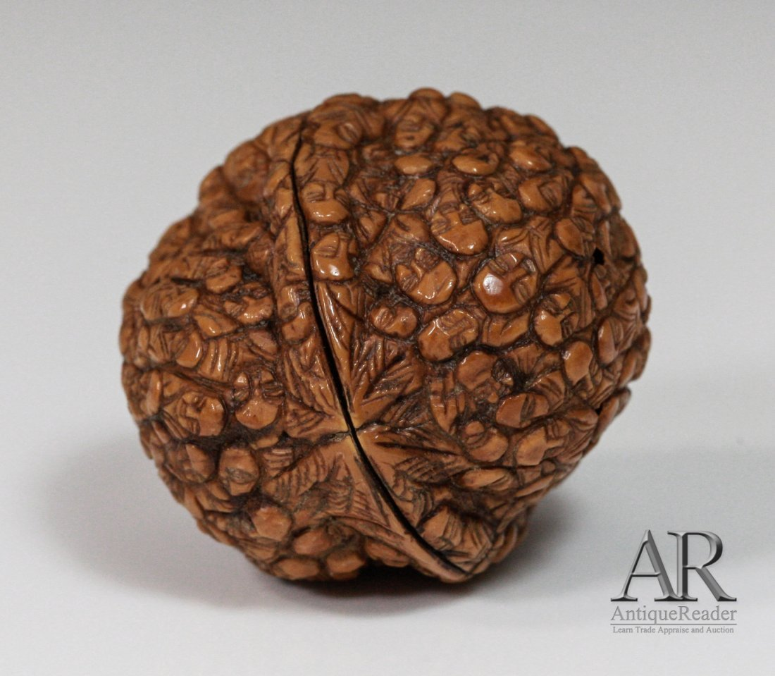 97: 19th C. Two Chinese Walnuts Carved in Relief - 8