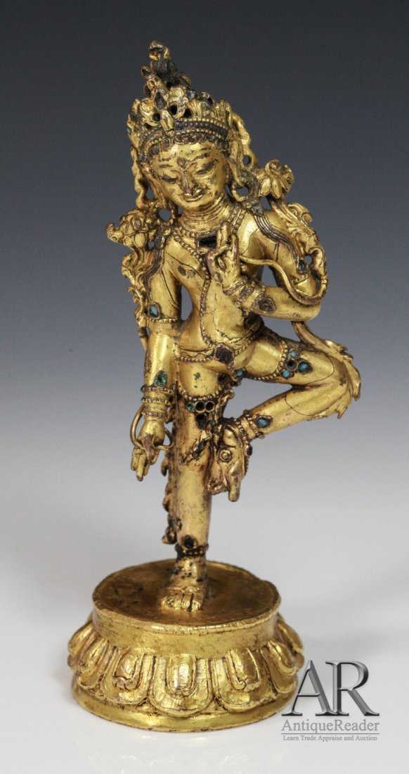 251: Rare 17th C. Tibetan Gold Gilt Bronze Buddha