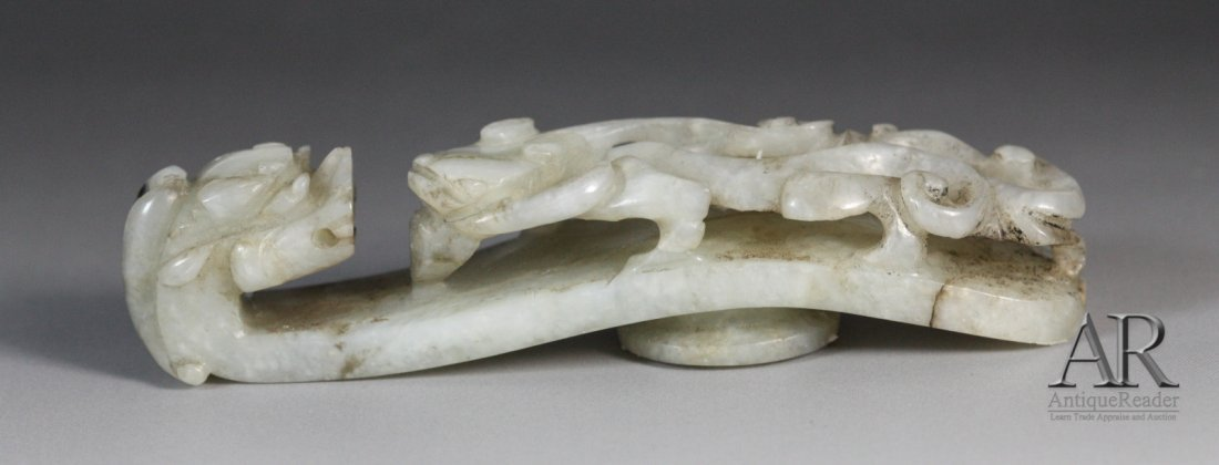 11: 19th C. Chinese Jade Carved Dragon Belt Hook