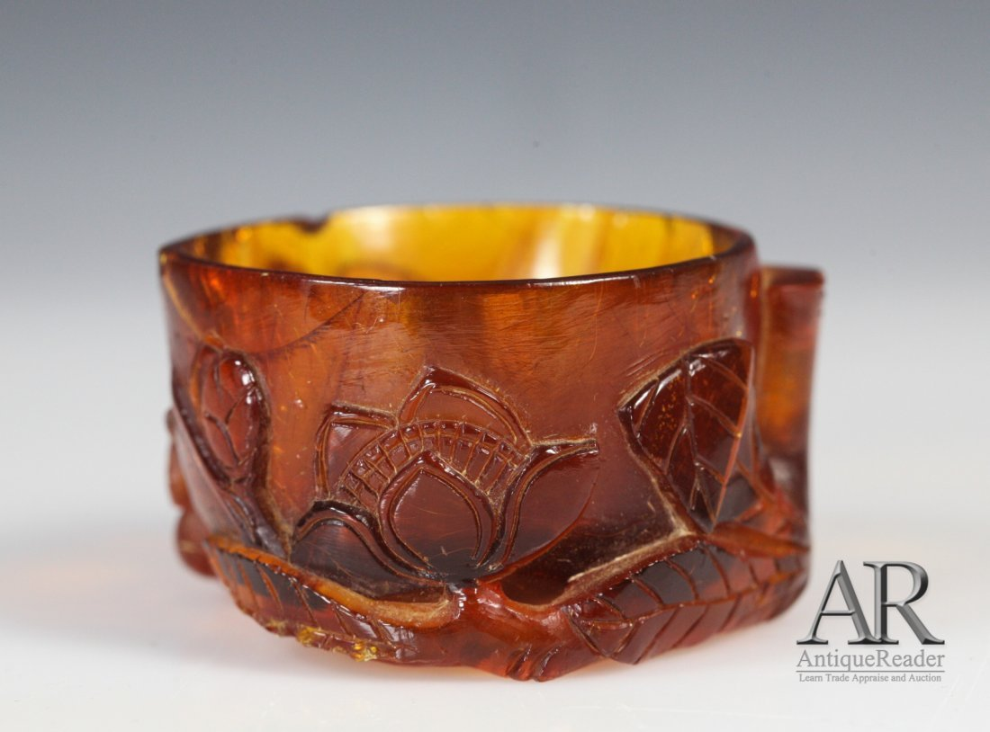 13: 19th C. Chinese Amber Carved Cup