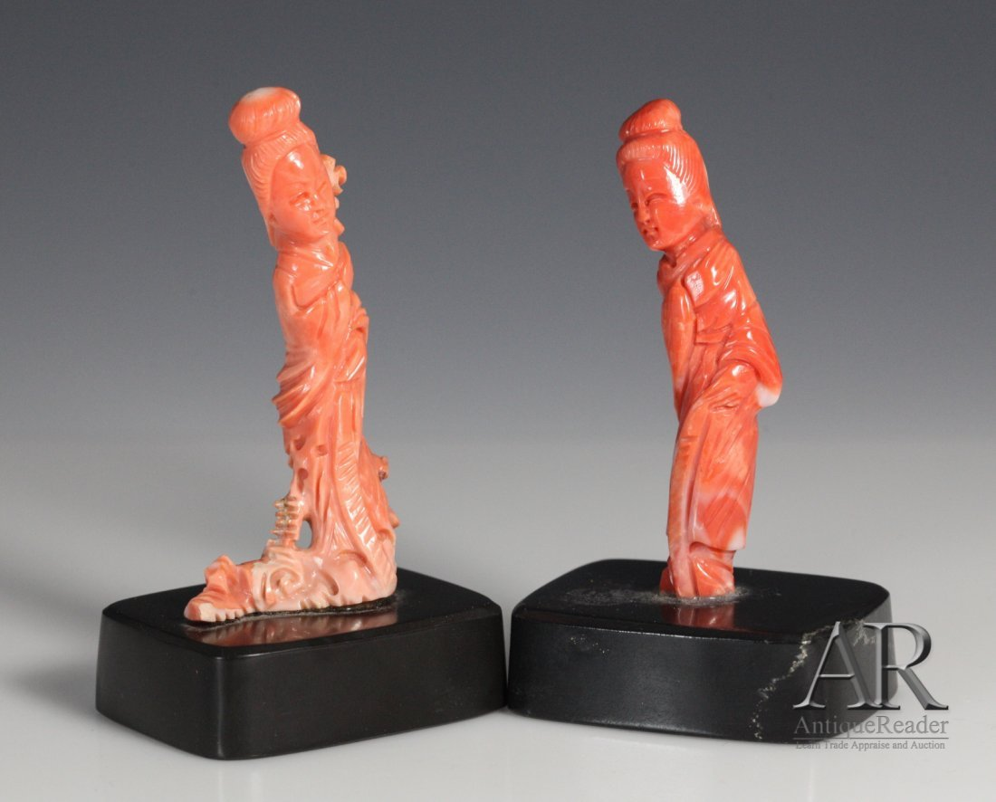 19: Two Chinese Coral Carved Beauties