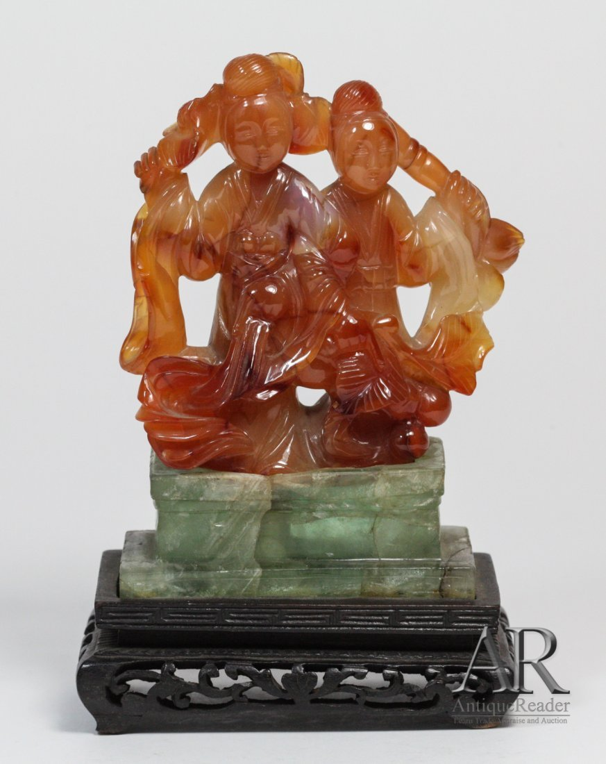 21: 19th C. Chinese Agate Carved Two Beauties