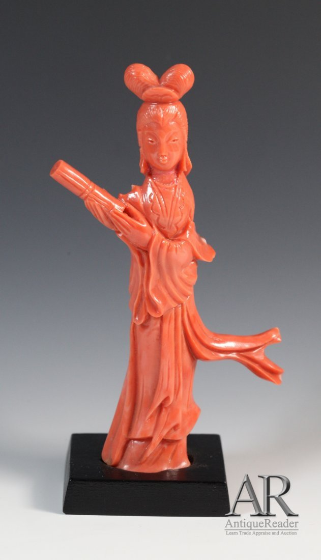 22: Chinese Red Coral Carved Standing Beauty