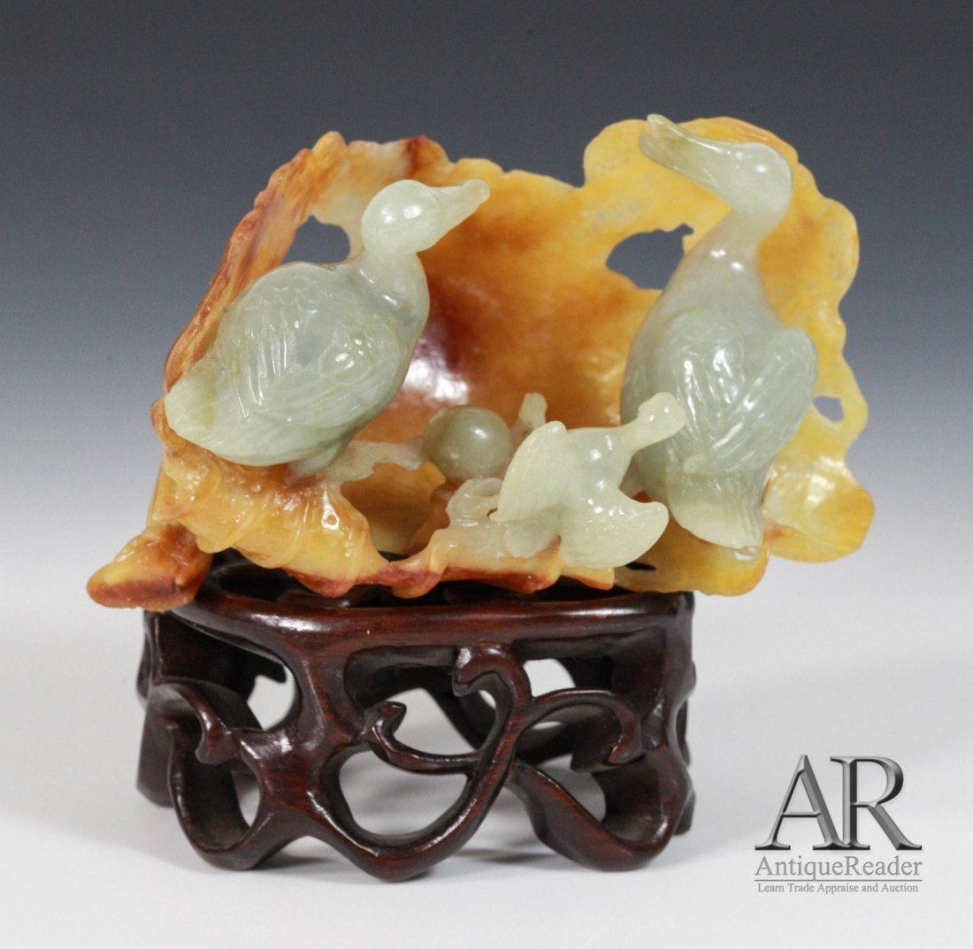 23: Chinese Jadeite Carved Two Ducks with Baby