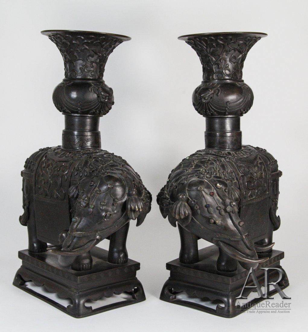 143: 18th C. Pair of Chinese Bronze Elephants Vases