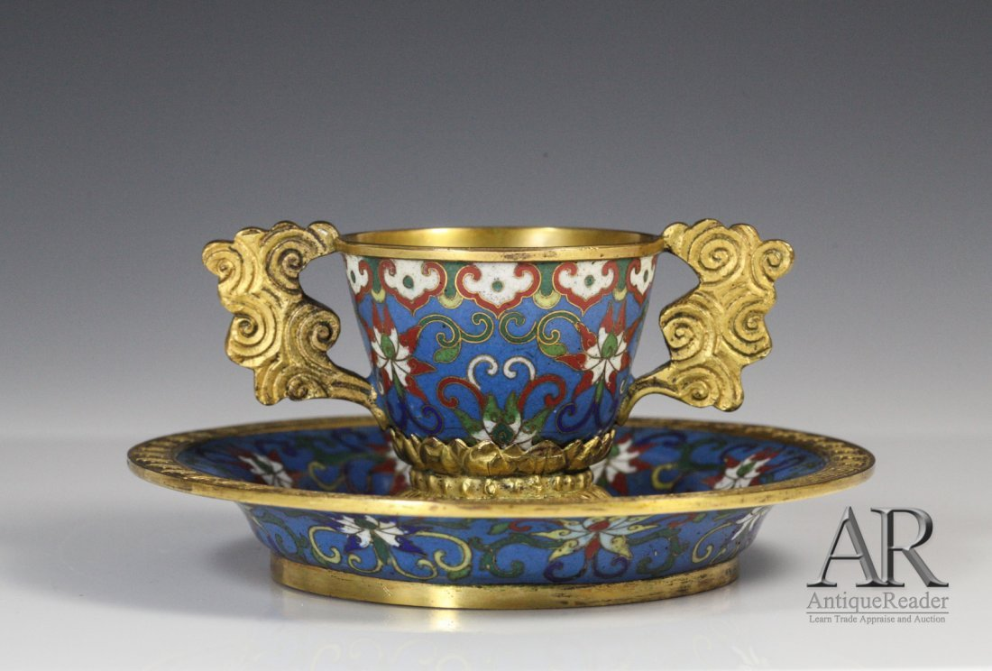 153: 18th C. Chinese Cloisonne Gilt Cup W/ Saucer-Dish