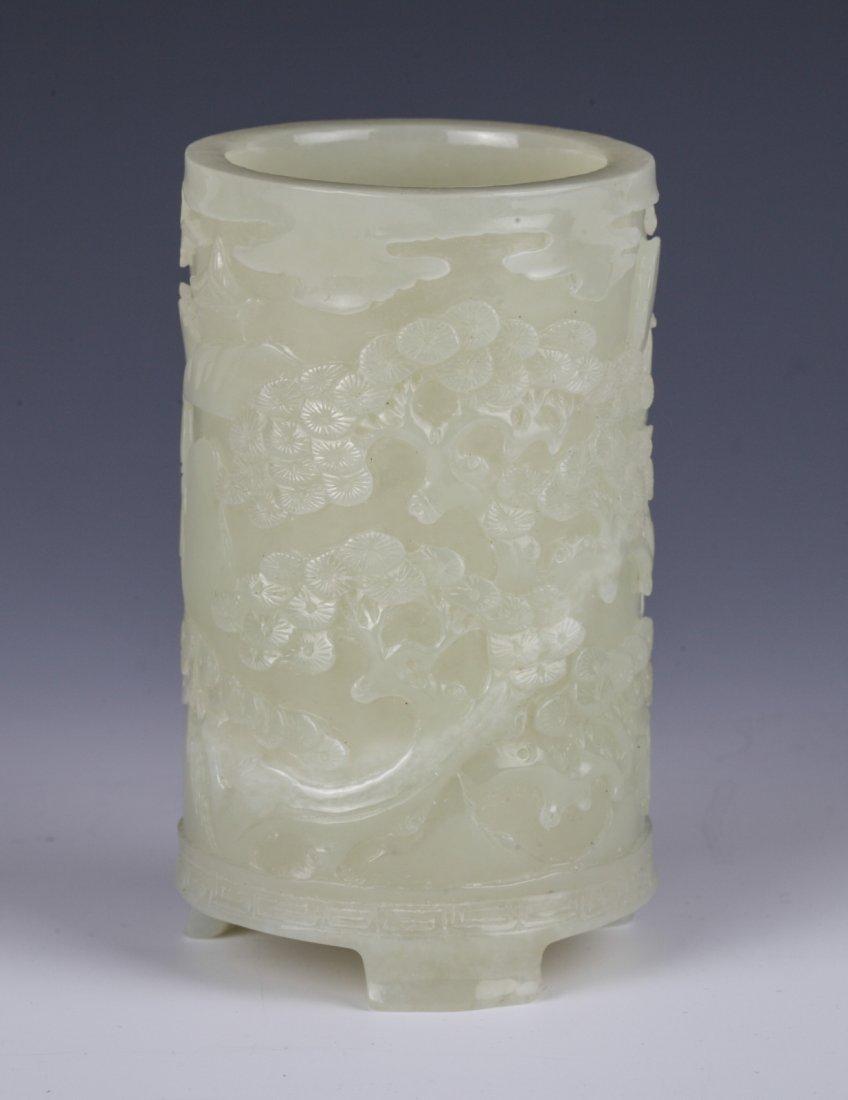 Chinese Celadon Jade Brush Pot