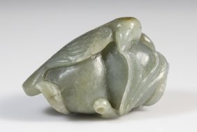 19th C. Chinese Celadon Jade Bird with Two Peaches