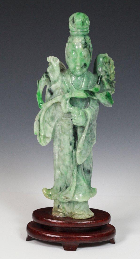 Chinese Jadeite Standing Guanyin Holding Lotus
