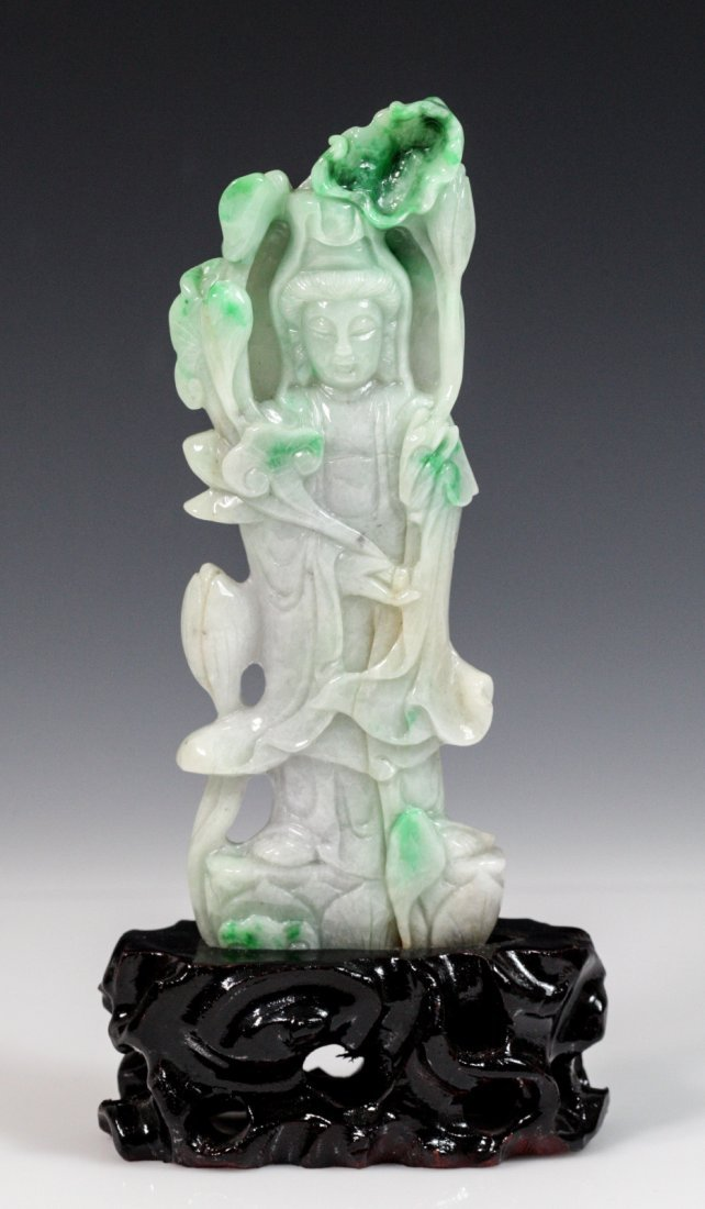 Chinese Jadeite Carved Standing Guanyin