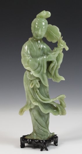 Chinese Celadon Jade Carved Standing Lady Hold Fan