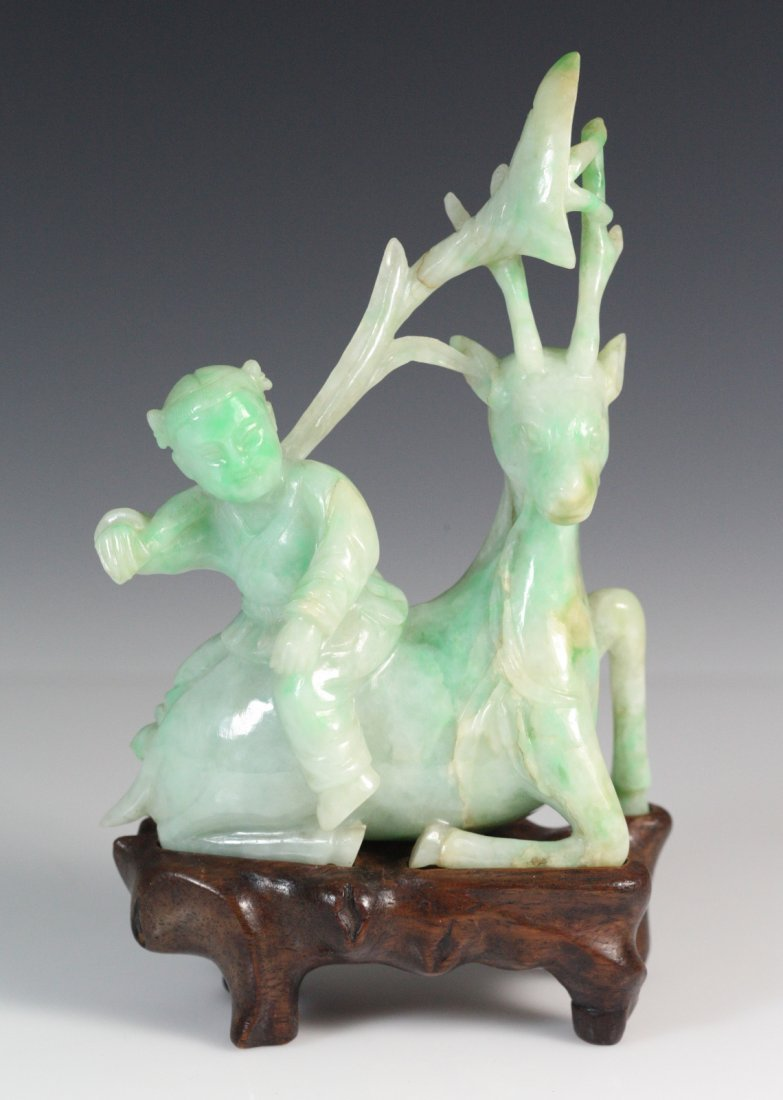 19th C Chinese Jadeite Carved Boy Riding Deer