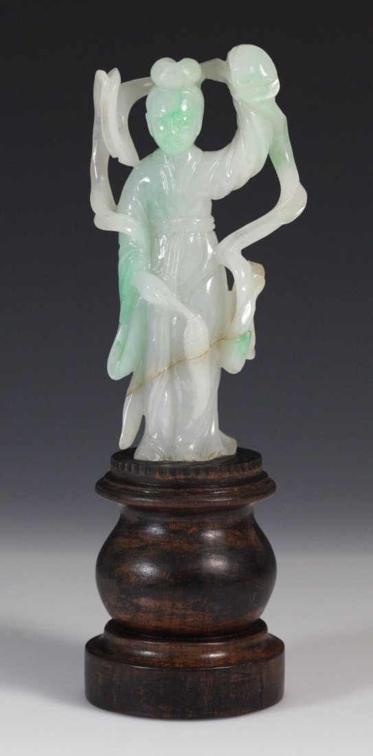 19th C. Chinese Jadeite Carved Lady with a Stand