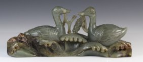 19th C Chinese Celadon Jade Carved Pair of Geese