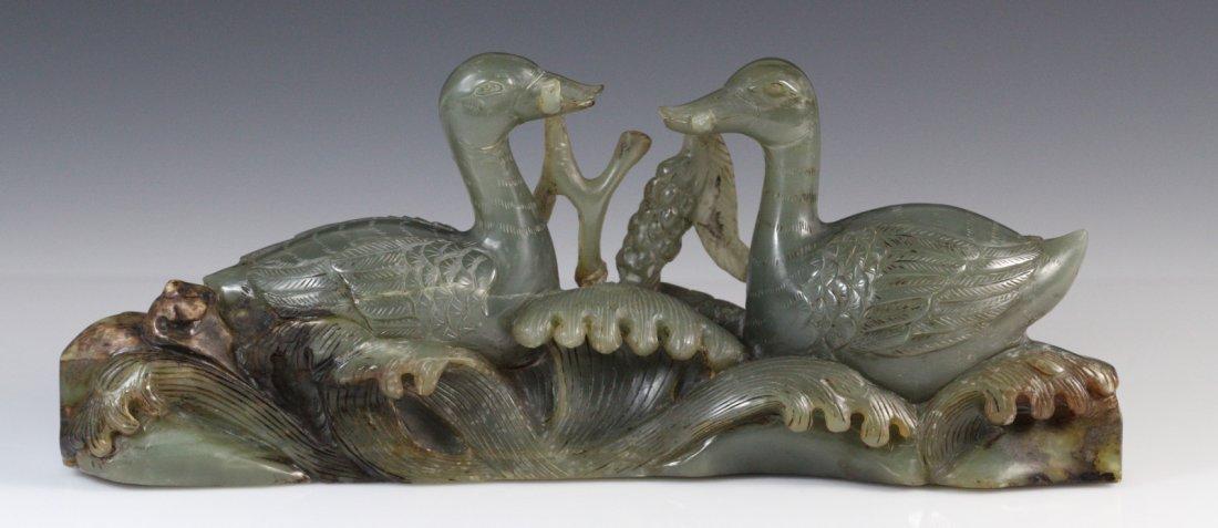 19th C Chinese Celadon Jade Carved Pair of Geese