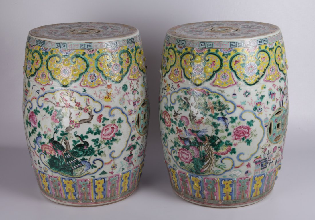 19th C Chinese Famille Rose Drum-Stool