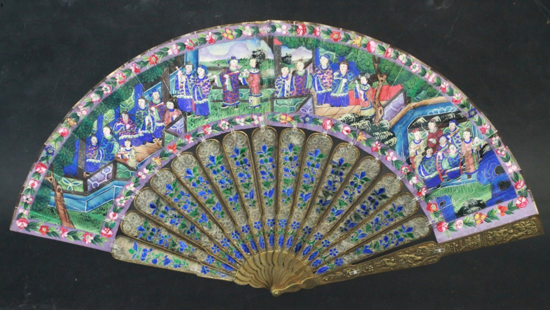 19th C. Chinese Silver Fan