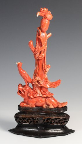 19th C. Chinese Red Coral Carved Standing Guanyin