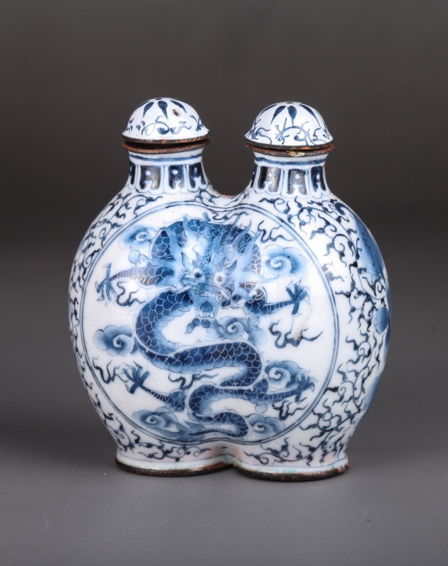 19th C.Chinese Bronze Enameled Double Snuff Bottle