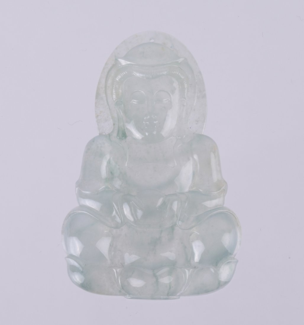 Chinese Ice-Jadeite Carved Guanyin Pendant w/ GIA