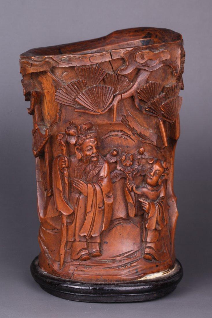 19th C. Chinese Boxwood Brush Pot