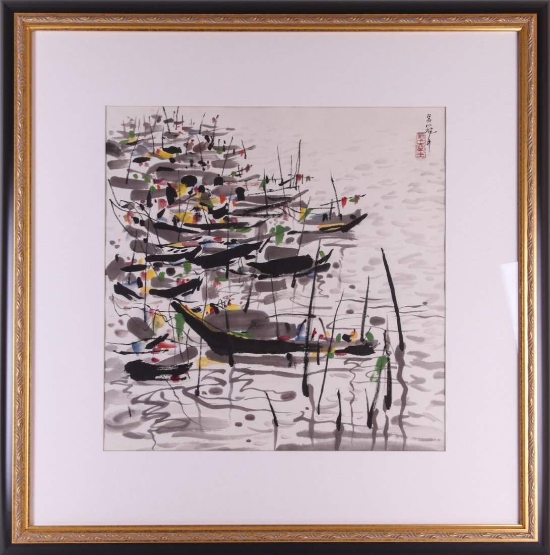 Chinese Painting with Frame, Signed Wu Guanzhong