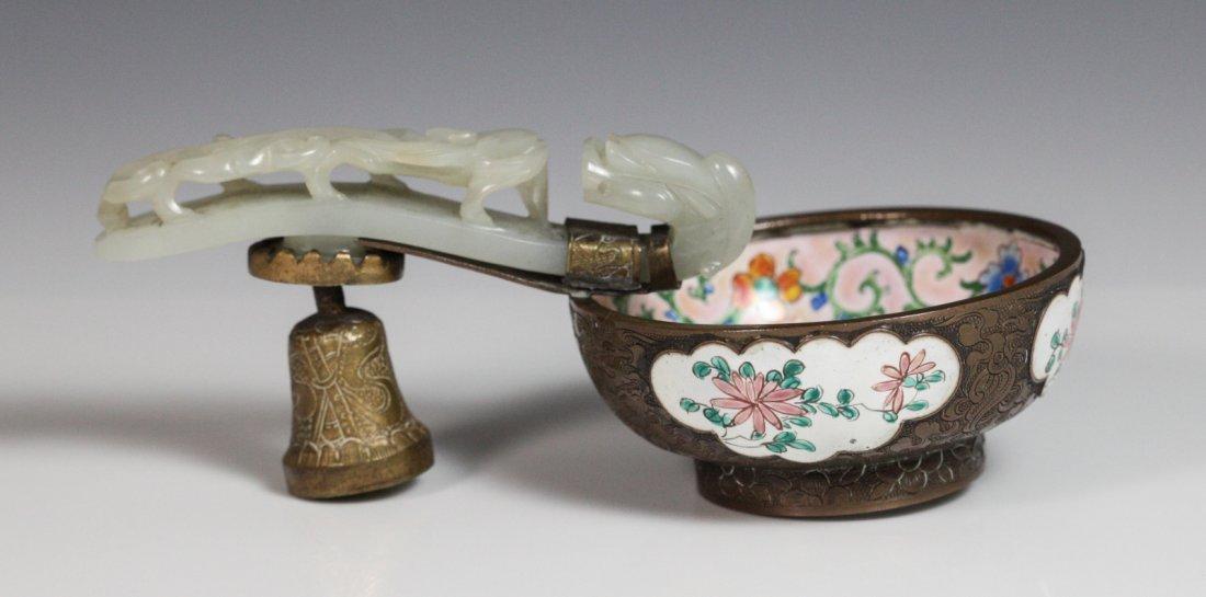 19th C. Chinese Enamel Bronze Bowl Jade Belt Hook
